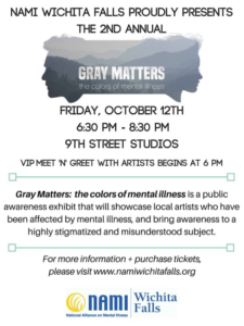 Gray Matters 2018: The Color of Mental Illness @ 9th Street Studios | Wichita Falls | Texas | United States