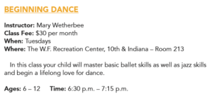 Beginning Dance (ages 6-12) @ W.F. Recreation Center | Wichita Falls | Texas | United States