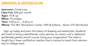 Drawing and Watercolor (ages 10+) @ W.F. Recreation Center | San Francisco | California | United States