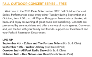 Outdoor Concert Series: Ken Nelson Jazz Band @ South Weeks Park | Wichita Falls | Texas | United States