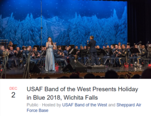 USAF Band of the West: Holiday in Blue 2018 @ Wichita Theatre Performing Arts Centre | Wichita Falls | Texas | United States
