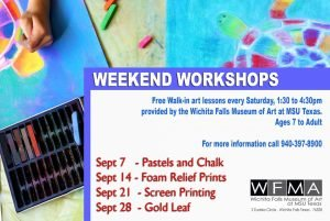 Weekend Workshops at WFMA @ Wichita Falls Museum of Art at MSU Texas