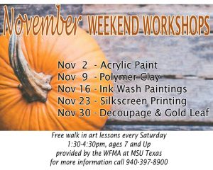 Weekend Workshops at the Wichita Falls Museum of Art @ Wichita Falls Museum of Art at MSU