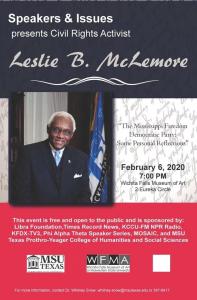 Speakers and Issues: Leslie B McLemore @ Wichita Falls Museum of Art at MSU