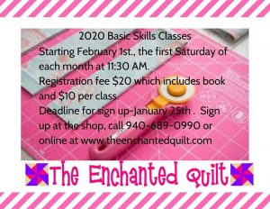 Enchanted Quilt: Basic Skills Class for 2020 @ The Enchanted Quilt