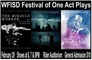 WFISD Festival of One Act Plays @ Rider HS Auditorium