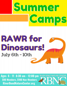 RBNC -RAWR for Dinosaurs Camp (ages 6-11) @ River Bend Nature Center