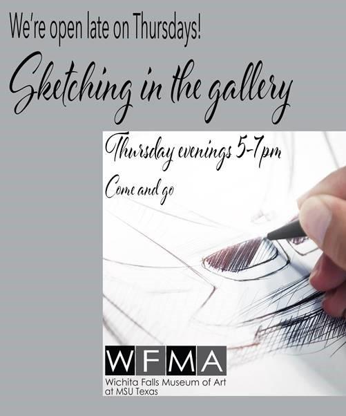 Sketching in the Galleries at WFMA at MSU Texas @ Wichita Falls Musem of Art at MSU